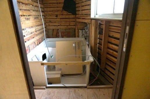 お風呂場にハーフユニット設置