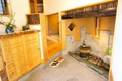 黒川温泉の帆山亭の山望の湯の玄関